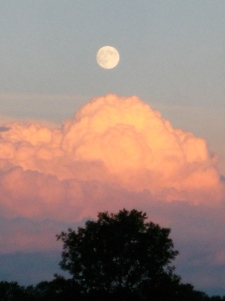 Full moon over summer thunderstorm - taken from our yard in July.
