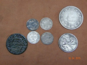 Some coins found in one evening, including the 1882 NFLD 50 cent piece.