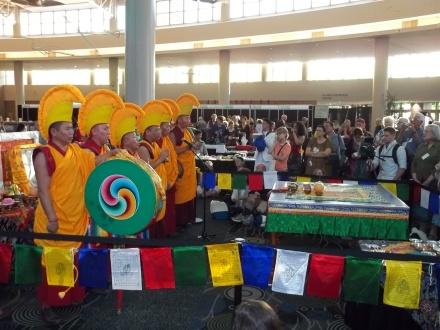 Tibetan Buddhist throat singing before starting the Mandala.