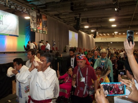 The processional as it approaches the main stage during the opening ceremony.