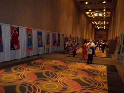 Approximately 90 goddess wall hangings were displayed in the Ballroom hallway.
