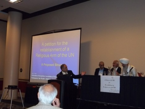 A session on creating a Religious Arm of the United Nations.
