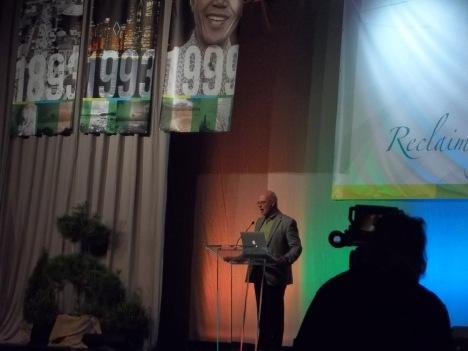 Emergent church leader, Brian McLaren, giving a keynote address.