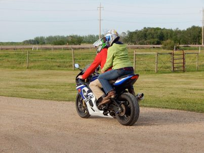 Taking a friend's GSX-R for a spin.